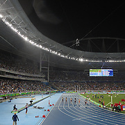 Athletics - Olympics: Day 13  A panoramic view of Dalilah Muhammad of the United States winning the gold medal in the Women's 400m Hurdles Final with Sara Petersen of Denmark winning the silver medal and Ashley Spencer of the United States winning the bronze medal at the Olympic Stadium on August 18, 2016 in Rio de Janeiro, Brazil. (Photo by Tim Clayton/Corbis via Getty Images)