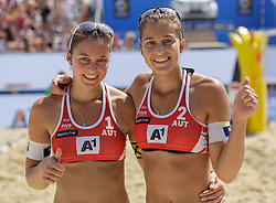 27.07.2016, Strandbad, Klagenfurt, AUT, FIVB World Tour, Beachvolleyball Major Series, Klagenfurt, Damen, im Bild Nadine Strauss (1, AUT) - Teresa Strauss (2, AUT) // during the FIVB World Tour Major Series Tournament at the Strandbad in Klagenfurt, Austria on 2016/07/27. EXPA Pictures © 2016, PhotoCredit: EXPA/ Gert Steinthaler