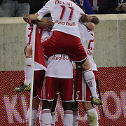 Thierry Henry, New York Red Bulls, is congratulated by teams mates after assisting in a goal for team mate Kenny Cooper during his Man of the Match performance during the New York Red Bulls V Toronto FC  Major League Soccer regular season match at Red Bull Arena, Harrison. New Jersey. USA. 29th September 2012. Photo Tim Clayton
