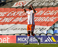 Blackpool's Nathan Delfouneso celebrates scoring his side's second goal <br /> <br /> Photographer Alex Dodd/CameraSport<br /> <br /> The EFL Sky Bet League One - Peterborough United v Blackpool - Saturday 29 September 2018 - London Road Stadium - Peterborough<br /> <br /> World Copyright © 2018 CameraSport. All rights reserved. 43 Linden Ave. Countesthorpe. Leicester. England. LE8 5PG - Tel: +44 (0) 116 277 4147 - admin@camerasport.com - www.camerasport.com