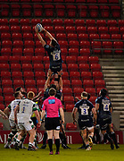 Sale Sharks flanker Cobus Wiese catches a line-out during a Gallagher Premiership Round 12 Rugby Union match, Friday, Mar 05, 2021, in Eccles, United Kingdom. (Steve Flynn/Image of Sport)