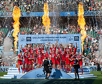 Rugby Union - 2019 Gallagher Premiership Final - Exeter Chiefs vs Saracens<br /> <br /> Saracens lift the trophy, at Twickenham Stadium.  <br /> <br /> COLORSPORT / ALAN WALTER
