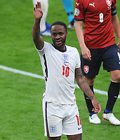 Football - 2021 UEFA European Championships - Finals - Group D - Czech Republic vs England - Wembley Stadium<br /> <br /> Goalscorer, Raheem Sterling of England waves to family in the stands<br /> <br /> Credit : COLORSPORT/ANDREW COWIE