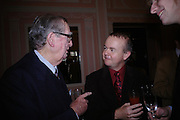 Lord Healey and Ian Hislop. The Oldie Of The Year Awards,  Simpsons in the Strand, London. 22 March 2005. ONE TIME USE ONLY - DO NOT ARCHIVE  © Copyright Photograph by Dafydd Jones 66 Stockwell Park Rd. London SW9 0DA Tel 020 7733 0108 www.dafjones.com