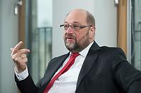 22 FEB 2016, BERLIN/GERMANY:<br /> Martin Schulz, SPD, Praesident des Europaeischen Parlamentes, waehrend einem Interview, Spiegel Hauptstadtbuero<br /> IMAGE: 20160222-01-034