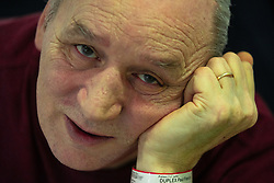 © Licensed to London News Pictures . 12/02/2021 .  Manchester , UK . PATIENT NHS ID NUMBER ON WRISTBAND PIXELATED AT SOURCE . Patient PAUL DUPLEX (60), who is celebrating his 60th birthday today (12th February 2021) by his bed on a bay on Ward 4 , the Respiratory Cohort Area . Inside Manchester Royal Infirmary , where patients are being treated for the effects of Coronavirus . Photo credit : Joel Goodman/LNP