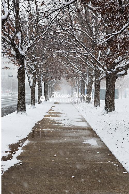 Snow falls at the Myriad Gardens in downtown Oklahoma City on Saturday, Dec. 27, 2014. (Photo copyright © 2014 Alonzo J. Adams)
