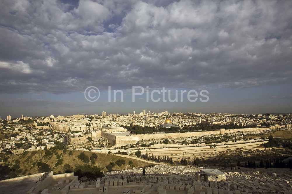 A view of the Old City as seen from the Mount of Olives, Jerusalem, Israel