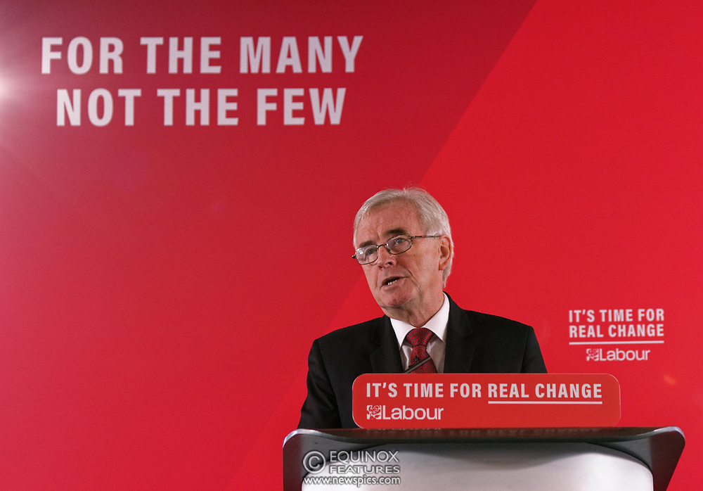London, United Kingdom - 9 December 2019<br /> John McDonnell gives an economics speech in the run up to the general election 2019, on behalf of the Labour Party at Coin Street Community Builders, London, England, UK.<br /> (photo by: EQUINOXFEATURES.COM)<br /> Picture Data:<br /> Photographer: Equinox Features<br /> Copyright: ©2019 Equinox Licensing Ltd. +443700 780000<br /> Contact: Equinox Features<br /> Date Taken: 20191209<br /> Time Taken: 11132948<br /> www.newspics.com