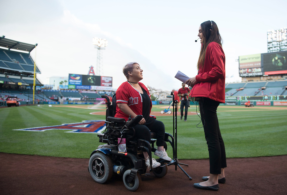 Marna Rough does her sound check before singing the National Anthem Monday at Angel Stadium.<br /> <br /> ///ADDITIONAL INFO:   <br /> <br /> angels.0614.kjs  ---  Photo by KEVIN SULLIVAN / Orange County Register  -- 6/13/16<br /> <br /> The Los Angeles Angels take on the Minnesota Twins Monday at Angel Stadium.