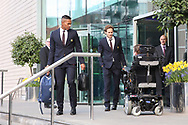 Antonio Valencia Midfielder of Manchester United and Daley Blind Midfielder of Manchester United depart the Lowry hotel before the Manchester United vs Celta Vigo match  at Old Trafford, Manchester, United Kingdom on 11 May 2017. Photo by Phil Duncan.