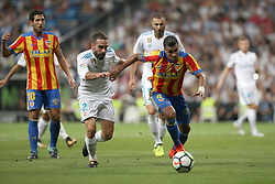 August 27, 2017 - Madrid, Spain - Murillo takes away the ball from Dani Carvajal. LaLiga Santander matchday 2 between Real Madrid and Valencia. The final score was 2-2, Marco Asensio scored twice for Real Madrid. Carlos Soler and Kondogbia did it for Valencia. Santiago Bernabeu Stadium, august 27, 2017. Photo by  (Credit Image: © |Antonio Pozo |  Media Expre/VW Pics via ZUMA Wire)