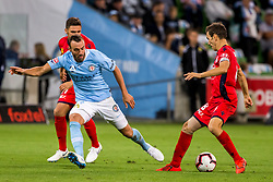 February 9, 2019 - Melbourne, VIC, U.S. - MELBOURNE, AUSTRALIA - February 09 : Isaias Sanchez of Adelaide United , Florin Berenguer-Bohrer of Melbourne City  and Mirko Boland of Adelaide United  contest the ball during round 18 of the Hyundai A-League Series between Melbourne City and Adelaide United on February 9 2019, at AAMI Park in Melbourne, Australia. (Photo by Jason Heidrich/Icon Sportswire) (Credit Image: © Jason Heidrich/Icon SMI via ZUMA Press)