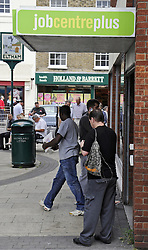 © Licensed to London News Pictures. 17/08/11. Eltham, UK. A man leaving the Job Centre Plus in  Eltham,South East London today (17/08/2011). The UK unemployment total rose unexpectedly in the three months to June, by 38,000 to 2.49m. The jobless rate also increased to 7.9%, the Office for National Statistics (ONS) has said. Photo credit : Grant Falvey/LNP