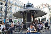 """""""Quiosque do refresco"""" esplanade in Luiz de Camões Square in Lisbon."""