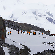 Seabourn guests exploring half Moon Island, Antarctica.