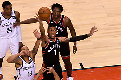 February 11, 2019 - Toronto, Ontario, Canada - Patrick Mc Caw #1 of the Toronto Raptors throws away the ball during the Toronto Raptors vs Brooklyn Nets NBA regular season game at Scotiabank Arena on February 11, 2019, in Toronto, Canada (Toronto Raptors win 127-125) (Credit Image: © Anatoliy Cherkasov/NurPhoto via ZUMA Press)
