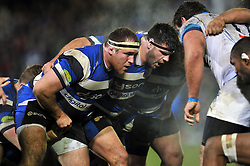 Henry Thomas and Rob Webber of Bath Rugby prepare to scrummage - Photo mandatory by-line: Patrick Khachfe/JMP - Mobile: 07966 386802 12/12/2014 - SPORT - RUGBY UNION - Bath - The Recreation Ground - Bath Rugby v Montpellier - European Rugby Champions Cup