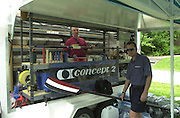 2002 FISA World Cup. Hazewinkel. BEL.       Friday  14/06/2002     .email images@Intersport-images.com.[Mandatory Credit: Peter Spurrier/Intersport Images]  .                                 /06/2002.Rowing    .General Views BLOSO Rowing Centre.  Concept II repair centre [Oar Doctor] Rowing, FISA WC.Hazenwinkel, BEL