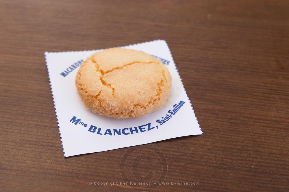 Macarons de Madame Blanchez, almond bisquits. The town. Saint Emilion, Bordeaux, France
