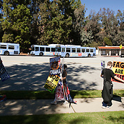 Members of the Westboro Baptist Church demonstrate in Los Angeles. Picketing Hillel Council at UCLA. (Note: Although she would not provide her name, the woman in center is believed to be Libby Phelps)