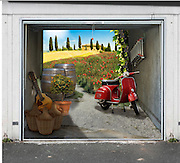 The 'secret Garage doors' that can transform your home<br /> <br /> The new photo tarpaulins from style-your-garage.com can give monochrome up-and-over garage doors a whole new look. The printed-on 3D motifs are deceptively realistic and will cause neighbours, friends and passers-by to stop and stare! with more than 250 motifs, that show exactly what car owner want to see in his garage: a spectacular racing car, wild horses, sexy go-go girls of a batch of golden bars. And we've managed to bring cult brands like Harley-Davidson and MINI on board for a cooperation called sponsored motifs: brands that will look fantastic in and on your garage. Or we can turn your digital image into a customised photo tarpaulin for your garage door!<br /> The garage billboards are made from high quality material, indestructible, quick and easy to with Velcro and easy to remove again if it is time to. We offer billboards for almost every type and size: whether single, multiple or high capacity garage, whether up-and-over doors, wing door or sectional door, and they are easily cutted to smaller sizes if necessary. <br /> ©style-your-garage.com/Exclusivepix
