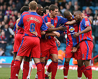 Photo: Alex Pelaez.<br /> Crystal Palace v Luton Town. Coca Cola Championship. 24/02/2007.<br /> Morrison celebrates his first goal with teamates