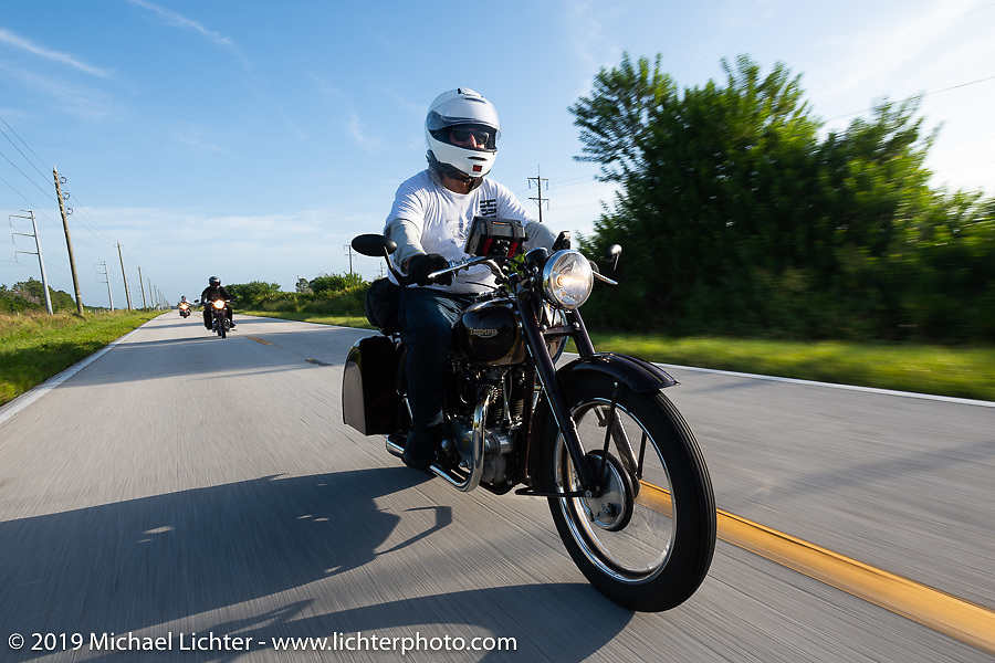 Texan Stewart Garrison riding his 1948 restored Twin Cylinder Triumph in the Cross Country Chase motorcycle endurance run from Sault Sainte Marie, MI to Key West, FL. (for vintage bikes from 1930-1948). Stage-9 covered 259 miles from Lakeland, FL to Miami, FL USA. Saturday, September 14, 2019. Photography ©2019 Michael Lichter.