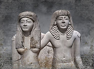 Ancient Roman statue of Pendua and his wife Nefertari, limestone, New Kingdom, 19th Dynasty, (1292-1186 BC),  Deir-el-Medina, Thebes. Egyptian Museum, Turin. <br />  Carved in Thebian white limestone the statue of Pendua and his wife Nefertari shows the skill and attention to details of the sculptors of Deir-el-Medina, the worker's village of those who built the Royal Tombs at Thebes. The theme of the family is echoed by a carving of a daughter between the two figures.