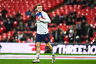 England Forward Jamie Vardy (9) warms up ahead of the Friendly match between England and Italy at Wembley Stadium, London, England on 27 March 2018. Picture by Stephen Wright.