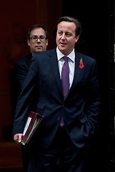 © London News Pictures. 31/10/2012. London, UK.  British Prime Minister DAVID CAMERON leaving number 10 Downing Street on October 31, 2012.  Photo credit: Ben Cawthra/LNP