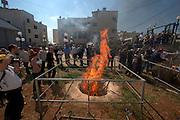 Israel, West Bank, Mount Gerizim, Samaritan Passover Sacrifice ceremony The Sacrifice fire