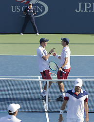 September 5, 2017 - New York, New York, United States - Bob & Mike Bryan of USA celebrate victory against Julien Benneteau & Edouard Roger-Vasselin of France at US Open Championships at Billie Jean King National Tennis Center (Credit Image: © Lev Radin/Pacific Press via ZUMA Wire)