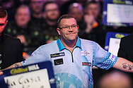 Steve West during the walk-on during the World Darts Championships 2018 at Alexandra Palace, London, United Kingdom on 27 December 2018.