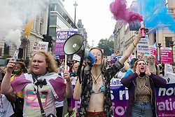 Trans rights campaigners take part in the first-ever Reclaim Pride march on 24th July 2021 in London, United Kingdom. Reclaim Pride replaced the traditional Pride in London march, which many feel has become too commercial and strayed from its roots in protest, and was billed as a People's Pride march for LGBTI+ liberation. Campaigners called for the banning of LGBTI+ conversion therapy, the reform of the Gender Recognition Act, the provision of a safe haven for LGBTI+ refugees and for LGBTI+ people to be decriminalised worldwide and marched in solidarity with Black Lives Matter.