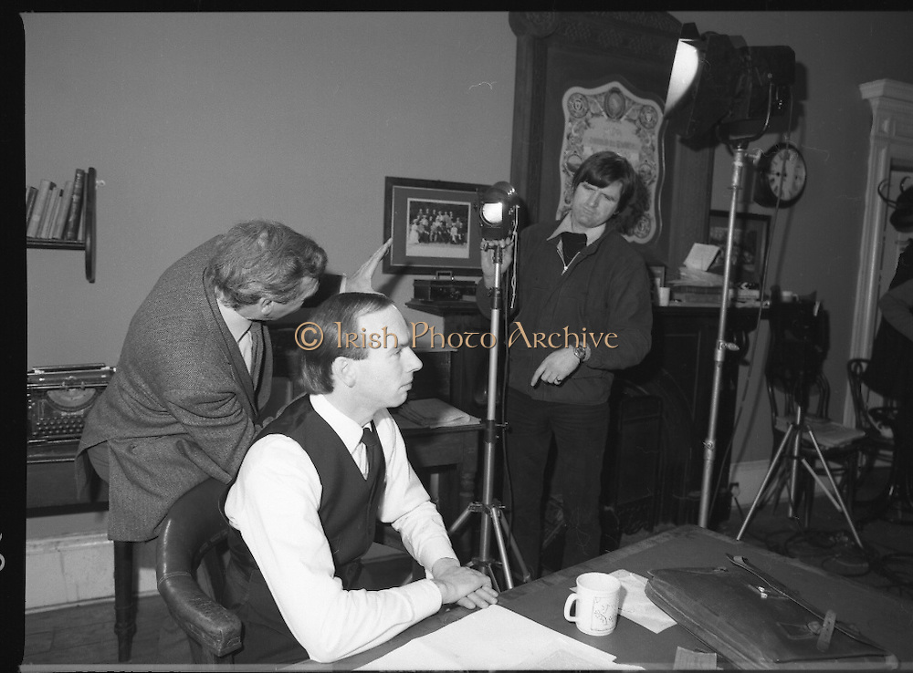 Patrick Pearse a film by Louis Marcus.    (N6)..1979..13.12.1979..12.13.1979..13th December 1979..A film on the Irish Patriot,Patrick was made by the Director, Louis Marcus.The film was to mark the centenary of Patrick Pearse's birth. The lead role was taken by renowned actor John Kavanagh.Others involved in the production were, Andy O'Mahoney, Niall Tobín,Denis Brennan and Derek Lord..Image shows the lighting director ensuring the correct positioning of the lights prior to filming.