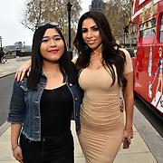 Fia Almanda of Britain's Got Talent and Francine Lewis attend Celeb Bri Tea, on board the BB Bakery bus on 22 March 2019, London, UK.