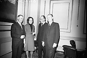 Candidates Nominated for Presidency. Mr. T.F. O'Higgins T.D., Fine Gael, who was nominated for the presidency, at the Custom House, Dublin. (l-r) Mr. Shane O'Hanlon, returning officer; Mrs. O'Higgins; Mr. T.F. O'Higgins; and Mr. Justice Seamus Henchy..10.05.1966