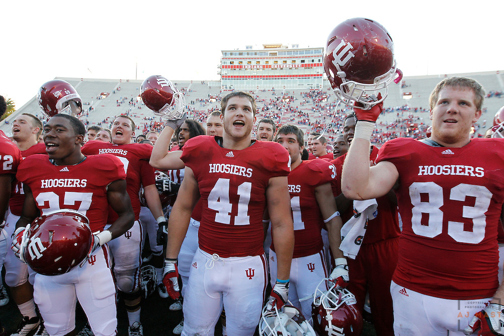 17 September 2011: Indiana celebrates the win as the South Carolina State Bulldogs played the Indiana Hoosiers in a college football game in Bloomington, Ind.