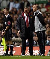 Fotball<br /> Premier League England 2004/2005<br /> Foto: BPI/Digitalsport<br /> NORWAY ONLY<br /> <br /> 25/09/2004 Tottenham v Manchester United, FA Barclays Premiership, White Hart Lane<br /> A smiling Sir Alex Ferguson as full time approaches