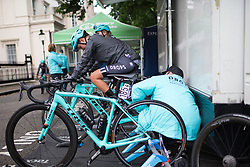 Abby-Mae Parkinson (GBR) of Drops Cycling Team warms up for the Prudential Ride London Classique - a 66 km road race, starting and finishing in London on July 29, 2017, in London, United Kingdom. (Photo by Balint Hamvas/Velofocus.com)