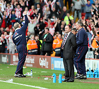 Photo: Mark Stephenson/Richard Lane Photography. <br /> Sheffield United v Cardiff City. Coca-Cola Championship. 19/04/2008. <br /> Bristol's masnager Gary Johnson looks on after the game while Sheffield's manager Kevin Blackwell (L)  celebrates