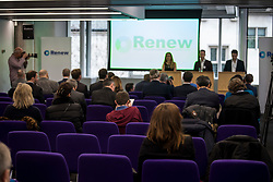 © Licensed to London News Pictures. 19/02/2018. London, UK. Empty seats at the launch event for Renew, a new anti-Brexit political party, at the Queen Elizabeth II Conference Centre in London. The Renew party, which is taking advice from representatives of Emmanuel Macron's En Marche, has recruited some 220 candidates to stand in local and national elections. Photo credit: Ben Cawthra/LNP