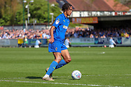 AFC Wimbledon defender Toby Sibbick (20) dribbling during the EFL Sky Bet League 1 match between AFC Wimbledon and Bristol Rovers at the Cherry Red Records Stadium, Kingston, England on 19 April 2019.