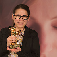 """Movie director Ildiko Enyedi of Hungary attends the press conference of her new Golden Bear winning movie """"On Body and Soul"""" in Budapest, Hungary on February 21, 2017. ATTILA VOLGYI"""