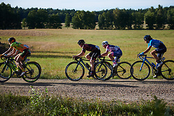 Tiffany Cromwell (AUS) crosses the first gravel sector at Postnord Vårgårda West Sweden Road Race 2018, a 141 km road race in Vårgårda, Sweden on August 13, 2018. Photo by Sean Robinson/velofocus.com