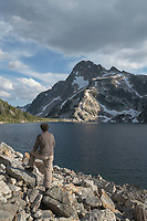 Hiker at Sawtooth Lake, Sawtooth Wilderness Idaho