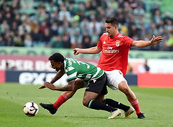 LISBON, Feb. 4, 2019  Wendel (L) of Sporting vies with Gabriel of Benfica during the Portuguese League soccer match between SL Benfica and Sporting CP in Lisbon, Portugal, Feb. 3, 2019. Benfica won 4-2. (Credit Image: © Xinhua via ZUMA Wire)