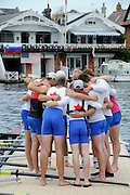 Henley, Great Britain.  Henley Royal Regatta. Berliner Ruderclub and Olympische Ruderclub Rostock, Germany, GER, go for a huddle, before the Final, of the Ladies' Challenge Plate. River Thames,  Henley Reach.  Royal Regatta. River Thames Henley Reach. Sunday  11:24:51  03/07/2011  [Mandatory Credit/Intersport Images] . HRR