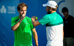 Nik Razborsek (SLO) and Tom Kocevar Desman (SLO) playing doubles during Day 4 of ATP Challenger Zavarovalnica Sava Slovenia Open 2018, on August 6, 2018 in Sports centre, Portoroz/Portorose, Slovenia. Photo by Vid Ponikvar / Sportida